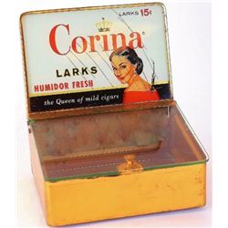 Corina Larks Cigar counter top humidor display case in copper clad metal with reverse painted advert