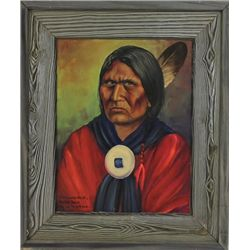 "Original painting ""Comanche Chief Horseback"" framed by Louis Shipshee 1896-1975 born in Kansas, self"