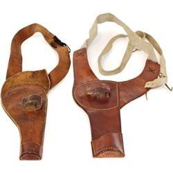Collection of 2 skeleton leather holster rigs includes very good Harpham Brothers for Colt 5 1/2  #2