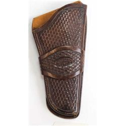 A W Brill basket stamped single loop holster showing fine condition.