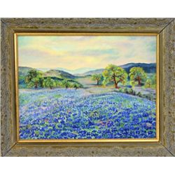 "Original landscape painting on board of Bluebonnets flowers 13"" X 17"", Texas official state flower s"