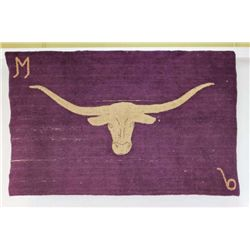 """Vintage wool and cotton long horn rug 36"""" X 58""""."""