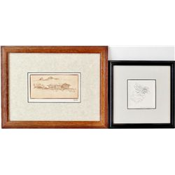 """Collection of 2 includes """"Montana Cabin"""" etching by Ace Powell (1912-1978) #19/50 with certifiacate"""