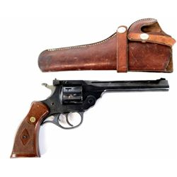 "H&R Sportsman 999 .22 cal. SN AG 2432 top break revolver 6"" barrel blued finish and checkered medall"