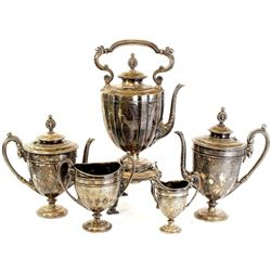Exceptional 5 piece antique coffee tea service sterling silver plate, includes large coffee server o
