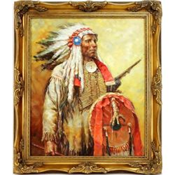 Original oil on canvas signed H. Soto depicting a Northern Plains Chief, mounted in gold gilt frame,