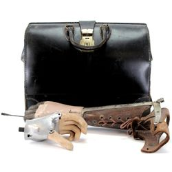 Collection of 3 includes 2 early mechanical hands and large leather doctors bag all from old Washing