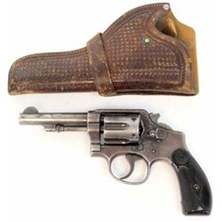 "Smith & Wesson hand ejector .38 S&W special SN 24695 revolver with 4"" barrel, blued finish and hard"