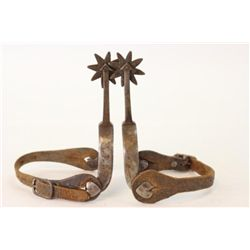 "Pair unmarked spurs with 3"" long arrow shanks with 8 point rowels, buttons heart and diamond shapes,"