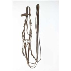 Model 1909 US watering bridle with No. 2 Yale and Townsend curb and snaffle bit, headstall marked WF