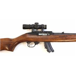 Ruger Model 1022 .22 cal. SN 12248618 semi automatic rifle fitted with 2.5 X18 scope. FFL required.