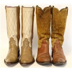 Two pair cowboy boots with one pair Size 10 1/2 B by Acme with pointed toes tan and off white uppers