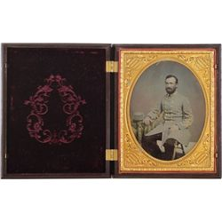 Outstanding Confederate Soldier ambrotype half plate size in original hinged gutta-percha case. Ambr