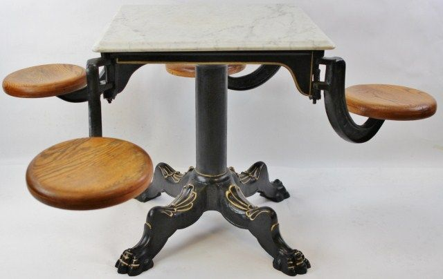 Rare Victorian Marble Top Ice Cream Table Used In Old Time Soda Fountains.  Table Features. Loading Zoom