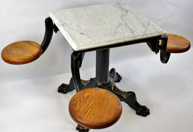 ... Image 2 : Rare Victorian Marble Top Ice Cream Table Used In Old Time  Soda Fountains ...