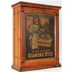 "C. 1910 Diamond Dyes ash dye cabinet with embossed ""Washer Woman"" tin litho insert, green version ba"