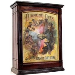 "C. 1890 Diamond Dyes ash dye cabinet with embossed ""Evolution of a Woman"" tin litho insert with orig"