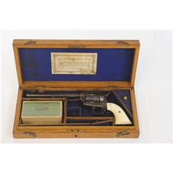 "Colt SAA .44-40 cal. SN 164xxx cased revolver with 7 1/2"" barrel, blued and case hardened finish wit"