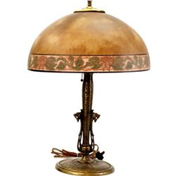 C. 1920's antique lamp with lion head design brass base and reverse painted glass globe, unmarked, 2