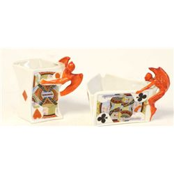 "Collection of 2 Devil and Cards pattern includes small pitcher 3 1/2' tall and condiment dish 3"" tal"