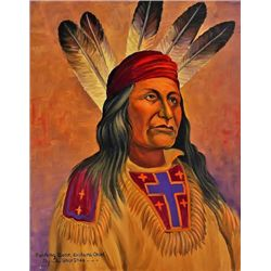 "Original painting ""Rushing Bear Arikara Chief"" Shipshee 1896-1975 born in Kansas, self taught Prairi"