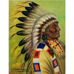 "Original painting ""Chief Spotted Elk"" by Louis Shipshee 1896-1975 born in Kansas, self taught Prairi"