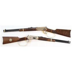 Rare John Wayne 2 gun cased set both #1/300, Winchester 1894 saddle ring carbines serial numbers JWN