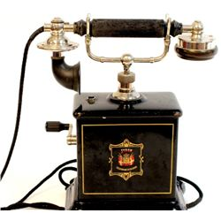 Classic antique hand crank telephone with black enamel base marked Jydsk, European probable 1910-192