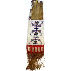 C. 1900 Northern Plains beaded pipe bag with quill slats, fringed bottom, main body with white backg