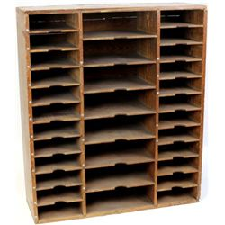 Pine Railroad Depot cabinet 32 individual compartments. Purchased at a Deadwood auction and an origi
