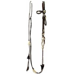 Early Horsehair bridle with silver overlay port bit and long matching reins. Overall good condition,