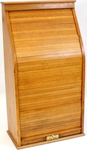 Oak tambour Railroad express cabinet with roll up front door, 41 ...