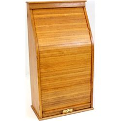 "Oak tambour Railroad express cabinet with roll up front door, 41"" X 21"" X 12""."