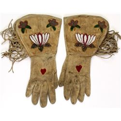 C. 1900's Nez Pearce beaded gauntlets with fringe, good condition , no repairs, leather soft and sup