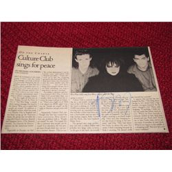 Singer Boy George  Culture Club  Autograph