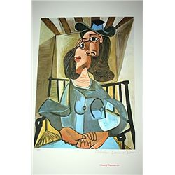 Limited Edition Picasso - Woman In A Hat Seated  In An Armchair - Collection Domaine Picasso