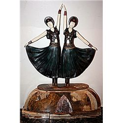 Dolly Sisters - Bronze and Ivory Sculpture by Chiparus