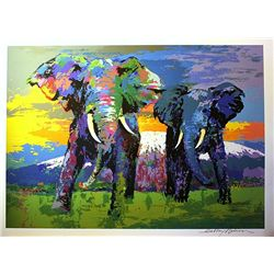 Leroy Neiman Double Signed Lithograph - Kilimonjaro Bulls-