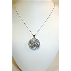 Lady's Very Fancy Sterling Silver Necklace With Diamond Pendant