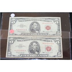1963 United States Note $5, Red Seal, Lot of 2