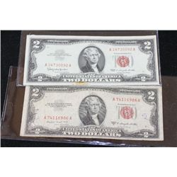 1953-B & 1963 United States Note $2, Red Seal, Lot of 2
