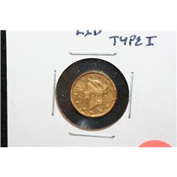 1853 Liberty $1 Gold Coin, Type I, Repaired