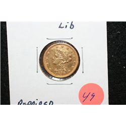 1878 Liberty $2 1/2 Gold Coin, Repaired