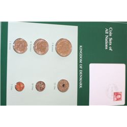 Kingdom of Denmark; Coin Sets of All Nations W/Stamp Dated 1985