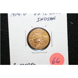 1914-D Indian Chief $2 1/2 Gold Coin, Repaired