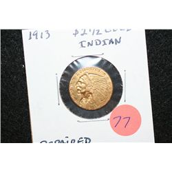 1913 Indian Chief $2 1/2 Gold Coin, Repaired