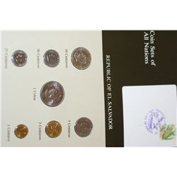 Republic of El Salvador; Coin Sets of All Nations W/Stamp Dated 1984