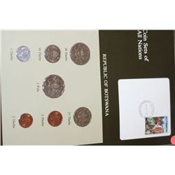Republic of Botswana; Coin Sets of All Nations W/Stamp Dated 1987