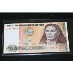 1987 Peru Quinientos Intis Foreign Bank Note
