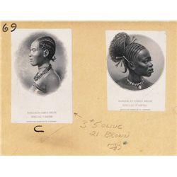Banque Du Congo Belge, Proof Vignette Portraits from 1929 to 1945, 50 & 500 Franc Banknotes.
